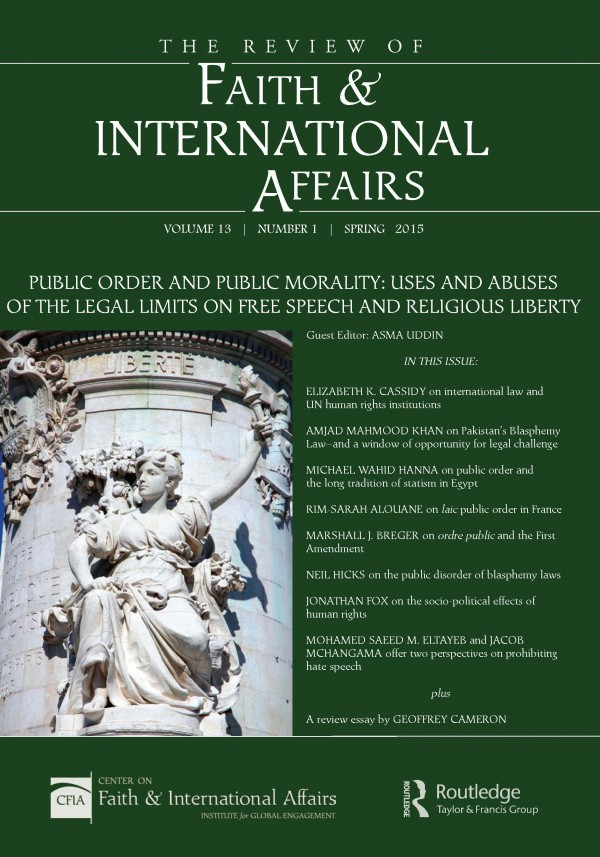 Public Order & Public Morality: Uses & Abuses of the Legal Limits on Free Speech & Religious Liberty