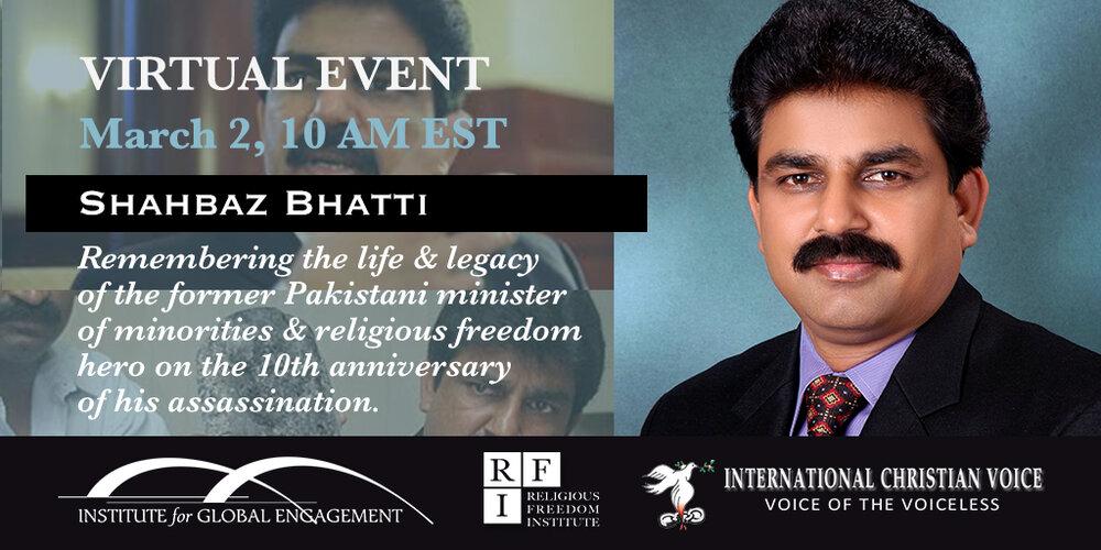 IGE Cosponsors Virtual Event: Shahbaz Bhatti 10th Anniversary Commemoration