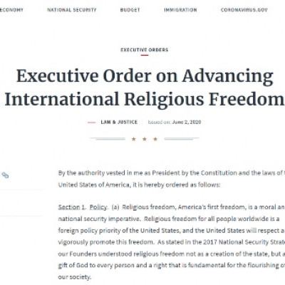 President Signs Executive Order on Advancing International Religious Freedom