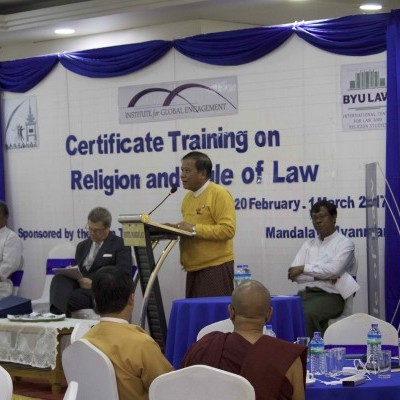 In 2017, IGE held the second Religion & Rule of Law Training in Mandalay, the religious capital of Myanmar. The program brought together leaders from the major faith communities in the region to learn about religious freedom and rule of law.