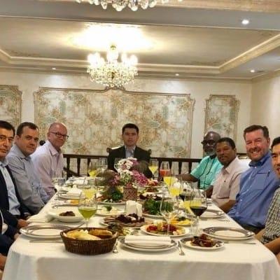 IGE delegation hosted for dinner in Tashkent by Ambassador Vladimir Norov, Director of the President of Uzbekistan's Institute for Strategic & Regional Studies (ISRS) in advance of MOU signing.
