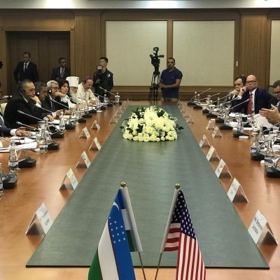 September 17, 2018: IGE signs a Memorandum of Understanding with the President of Uzbekistan's Institute for Strategic and Regional Studies. The ceremony was attended by US Ambassador for International Religious Freedom, Sam Brownback, and US Ambassa