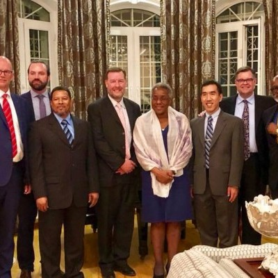 U.S. Ambassador to Uzbekistan, Pamela Spratlen hosts the IGE delegation for a dinner discussion of US-Uzbekistan relations and how religious freedom might be advanced thoughtfully, respectfully and for the good of both countries.